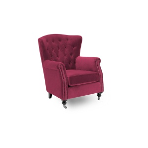 Deverell Wingback Chair in Berry