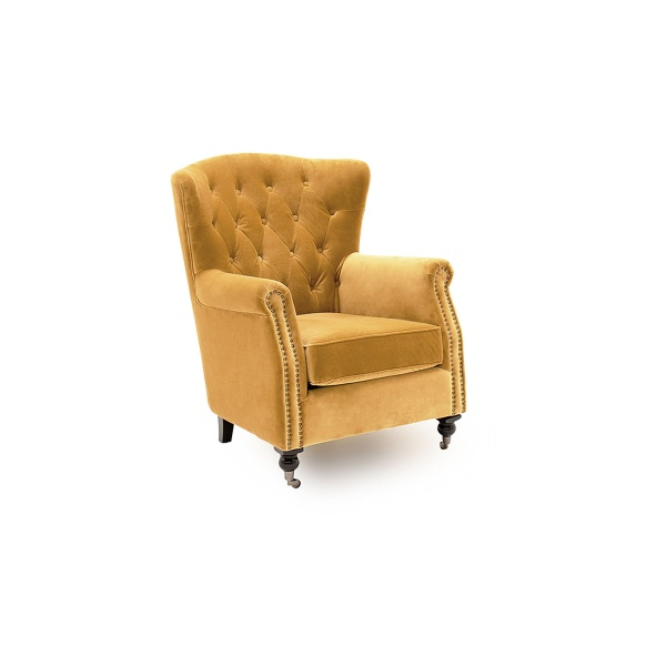 Deverell Wingback Chair in Mustard