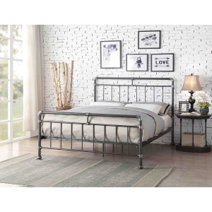 Kincaid double bedframe in black-silver finish