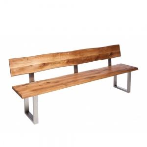 Minnesota Oak Bench with Back U-Shaped Leg
