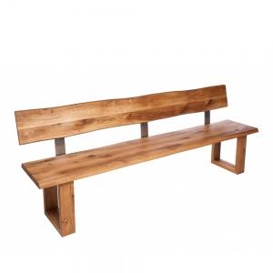 Minnesota Oak Bench with Back U-Shaped Leg Wood