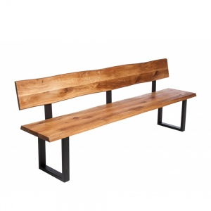 Minnesota Oak Bench with Back U-Shaped Leg anthracite 2