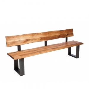 Minnesota Oak Bench with Back U-Shaped Leg anthracite