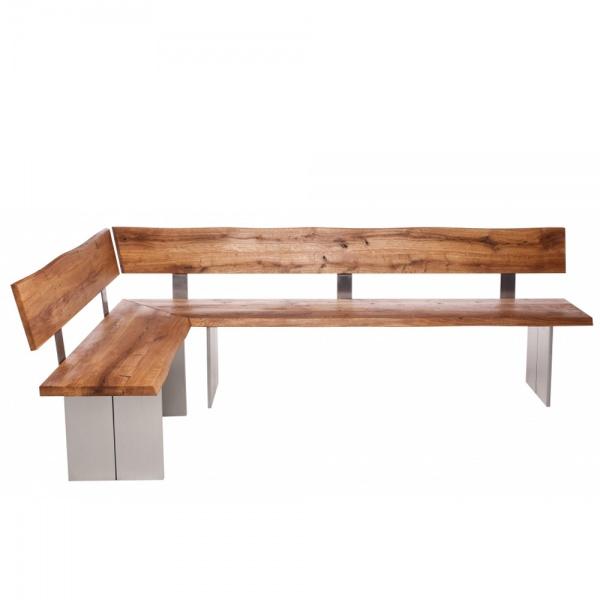 Minnesota Oak Corner Bench Full Leg stainless steel