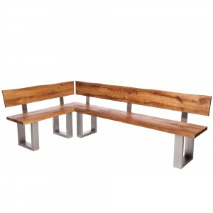 Minnesota Oak Corner Bench U-Shaped Leg 2