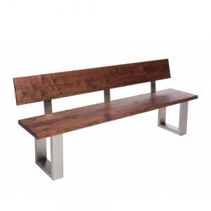 Minnesota Walnut Bench with Back U-Shaped Leg