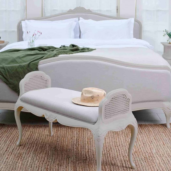 Avignon Grey upholstered bed & bench