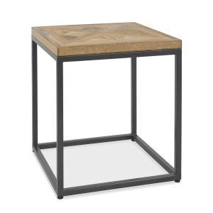 Ravi Rustic Oak Lamp Table angled
