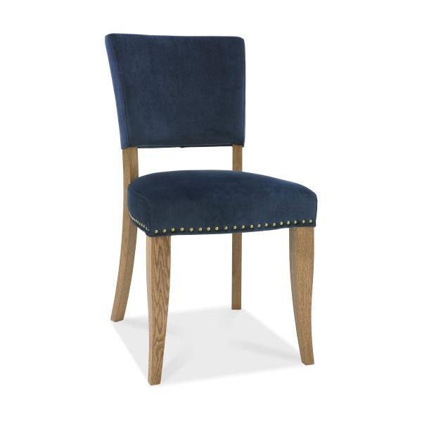 Ravi Upholstered Dining Chair Dark Blue angled