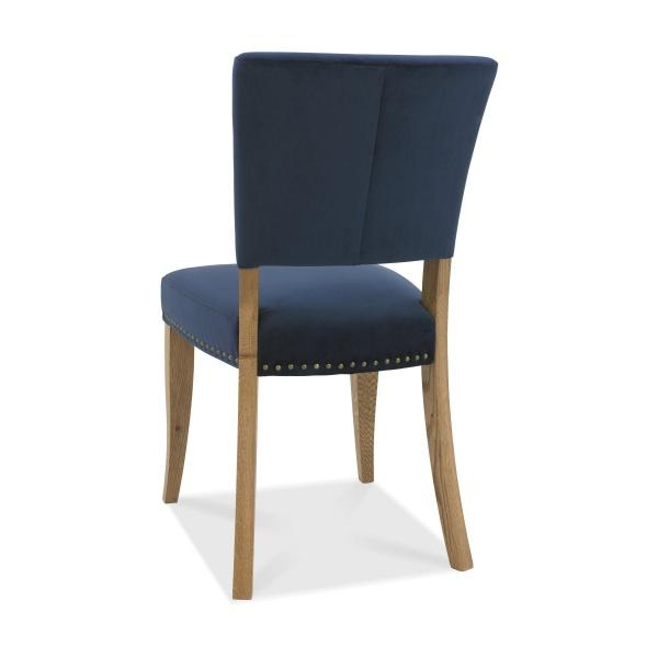 Ravi Upholstered Dining Chair Dark Blue back