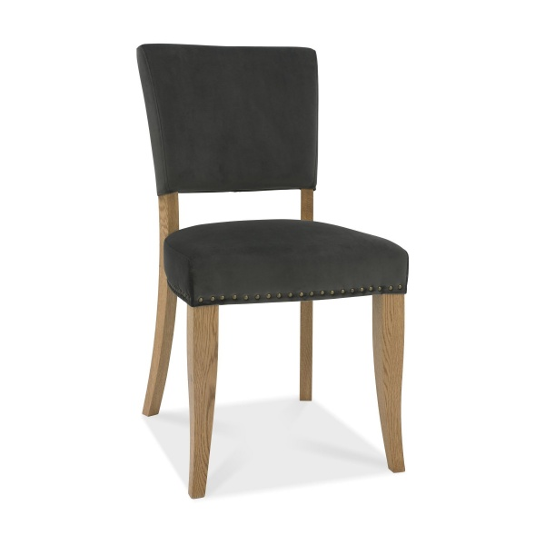 Ravi Upholstered Dining Chair Gun Metal angled