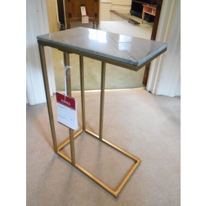 Clearance Beiderbecke C - Side Table in Grey Marble & Brass